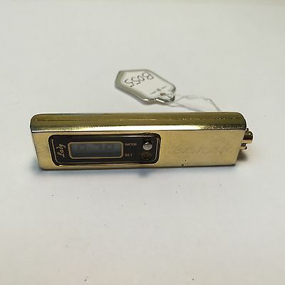 Vintage Lady Gold Tone Long Rectangle LCD Key Ring Pedant Watch Hour~New Battery