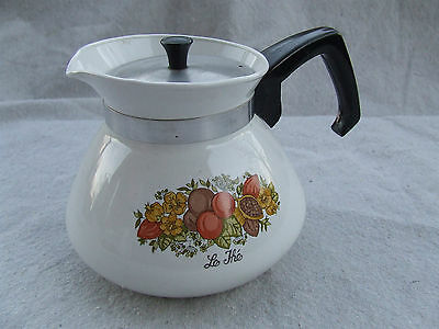 Spice of Life 6 Cup Cups Coffee Pot Vintage Corelle Corning Ware 2 pc set Lid h