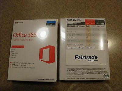 NEW Microsoft Office 365 Home Premium 5 PCs or 5 MACs 1 Year Subscription - 2016