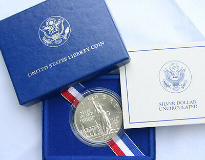1986 STATUE of LIBERTY SILVER DOLLAR BU Commemorative US Mint SOL Coin and Box