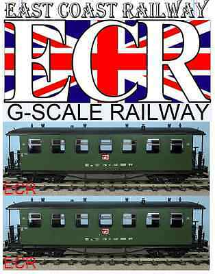 A Pair Yes Two G Scale Gauge Railway Passenger Carriage Green Garden Coach Train