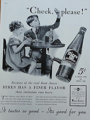 "1937 ORIG. PRINT AD HIRES ROOT BEER young boy and girl at table ""Check Please!"""