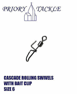 Cascade Clip Down Rolling Swivels Size 6 With Bait Clip - Sea Fishing Rigs