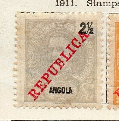 Angola 1911 Early Issue Fine Mint Hinged 2.5r. Optd Republic 130115