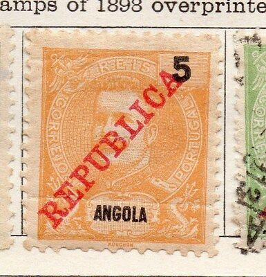 Angola 1911 Early Issue Fine Mint Hinged 5r. Optd Republic 130125