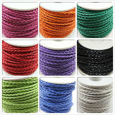Wholesale 3mm Hand-Woven Braided Hemp Flowers Genuine Leather Cord 5M/20M