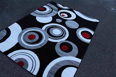 Brand new Abstract Black Gray Red White Contemporary Area Rugs 5x8