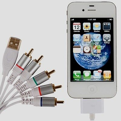 RCA Component AV Cable for iPod iTouch iPhone iPad 1 to 4 Generation USB 1.5m