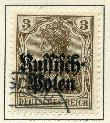 GERMANY OCCUPATION POLAND; 1915 early Optd issue fine used 3pf.