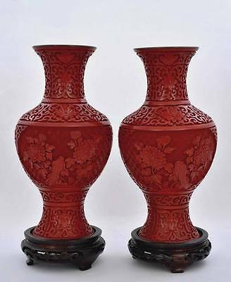 2 Chinese Cinnabar Lacquer Carved Carving Flower Vase with Stand