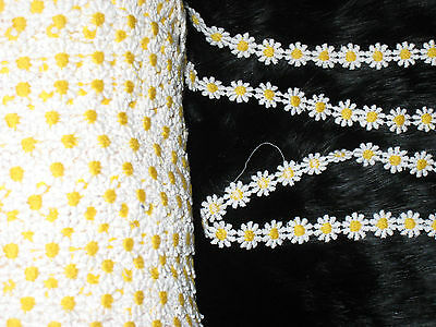"""3  YARDS 1/2"""" WIDTH YELLOW  AND WHITE FLORAL COTTN TRIM FOR YOUR FASHION DESIGN"""