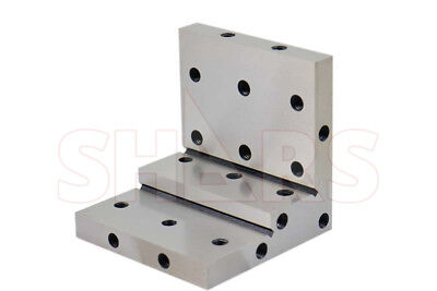 """Shars Angle Plate 4x4x4x1x1/2"""" Precision Steel Ground 0.0002"""" w. Tapped Holes"""