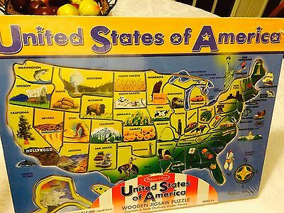 Melissa & Doug USA Wooden Jigsaw Puzzle Capitals & State Outlines Under Pieces