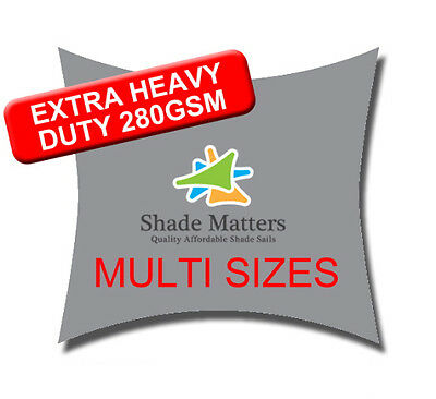 Extra Heavy Duty Shade Sail Grey Rectangle Square Triangle. Add a Fitting Kit