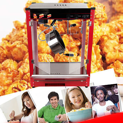 8oz Stainless Commercial Popcorn Pop Corn Maker Popcorn Machine Cooker 1370W