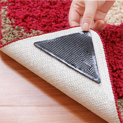 4X Rug Carpet Mat Grippers Non Slip Anti Skid Reusable Washable Silicone Grip D7