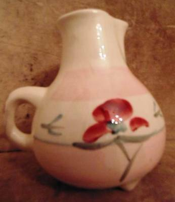 Vintage Pottery PITCHER Footed Signed Pottery by LEVINE Richmond CA Floral Dsgn