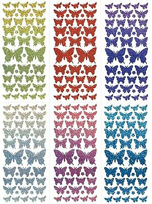 SPRING BUTTERFLIES Peel Off Stickers Shimmer Flowers Butterfly Card Making