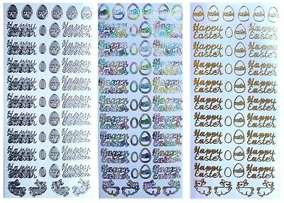 HAPPY EASTER Peel Off Stickers Easter Eggs Bunny Card Making Gold Silver Multi