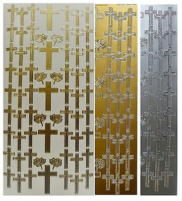 CROSSES Peel Off Stickers Easter Wedding Roses Religion Gold or Silver