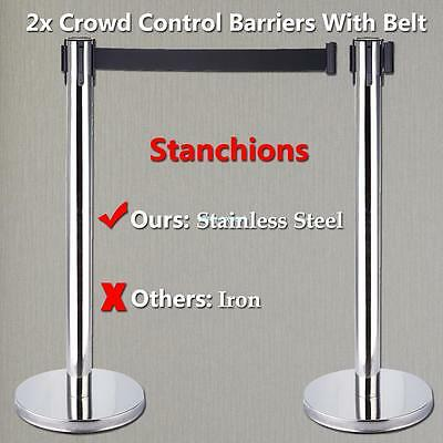 2x Retractable Queue Crowd Control Stretch Barriers Belt Posts Safety Bank Parks