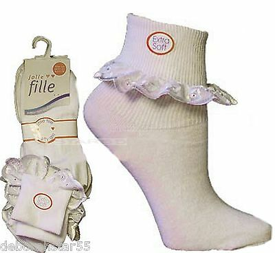 Girls Ankle Socks 6 PAIRS White Ankle Socks Frilly Ankle Socks x 6 Pairs 7 Sizes