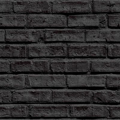 Arthouse VIP Black Brick Classic Stone Wallpaper 623007 3D Effect 623007 Mural