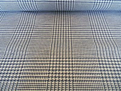 MODERN HIGH END KRAVET HOUNDS TOOTH PLAID  NAVY BLUE WHITE UPHOLSTERY FABRIC BTY