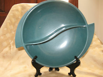 """Vintage Boonton Ware Divided Bowl-Forest Green-8"""""""
