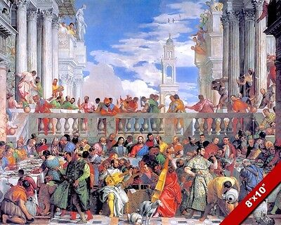Jesus At The Wedding In Cana Painting Christian Bible Art Real Canvas Print