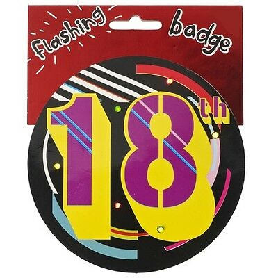 Big Jumbo Flashing 18Th Birthday Party Badge Age 18