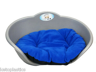Large Plastic Silver Grey Pet Bed With Blue Cushion Dog Cat Sleep Basket