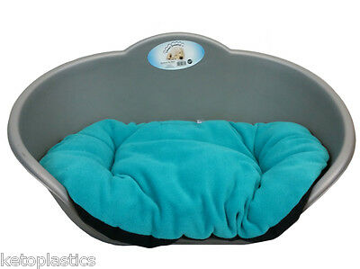 Large Plastic Silver Grey Pet Bed With Aqua / Teal Cushion Dog Cat Sleep Basket