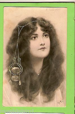 #f.  1907 Postcard -  Young Lady With Hair & Accessory