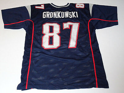 ROB GRONKOWSKI unsigned Patriots blue jersey adult mens XXL