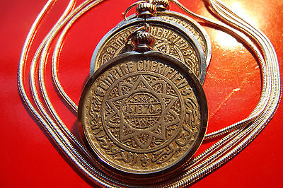 """Classic 10 Pointed Star Morrocan Tribal Coin Pendant on a 30"""" .925 Silver Chain"""