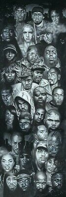 Hip Hop Faces SLIM (LAMINATED) POSTER Snoop Eminem Dre 2Pac 50 Notorious Puffy