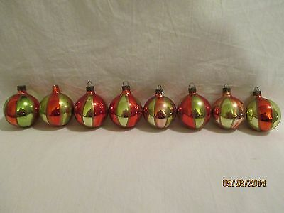 """Vintage Glass Ornaments Red & Gold Alternating Stripes Lot of EIGHT 5 5/8"""" Cir"""