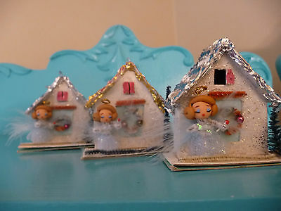 1 Sweet OOAK Vintage Christmas Putz House w Wire & Polymer Clay Angel Ornament