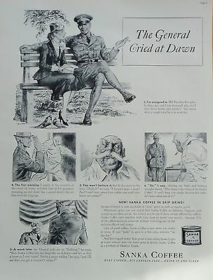 1938  PRINT AD SANKA COFFEEthe General cried at dawn, signed art on a park bench
