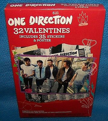 Valentines Day Cards (Box of 32) One Direction Includes Stickers & Poster