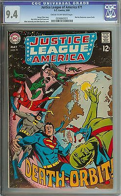 Justice League Of America #71 Cgc 9.4 Cr/ow Pages/martian Manhunter Leaves Earth