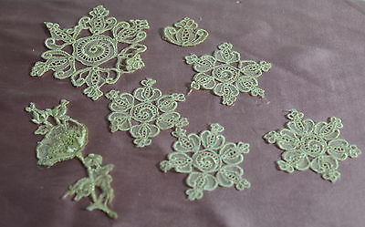 50% Off! 7 Pieces Exquisite Embroidered Appliques In Ivory-Colored Silk  Pp369