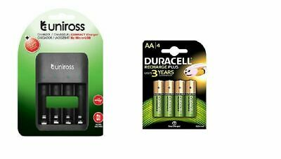 UNiROSS AA/AAA/PP3 9v COMPACT CHARGER 4 x AA DURACELL RECHARGEABLE BATTERIES