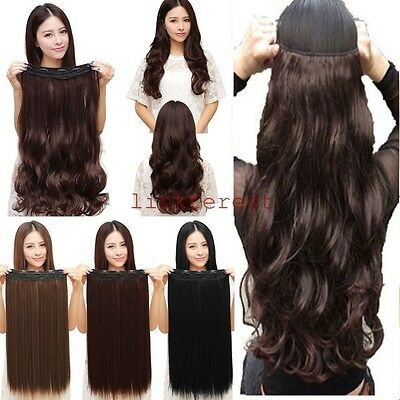 Real Quality Long Straight Wavy Clip In Hair Extensions 3/4 Full Head 5Clips lts