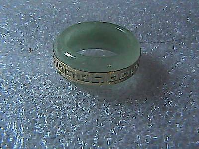 Vintage  14k Solid Yellow Gold Greek Style Jade Band Ring