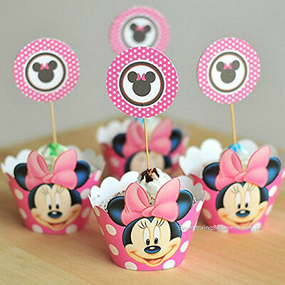 Set of 12 Minnie Mouse Birthday Party Cupcake Liner Wrap Wrappers with Toppers