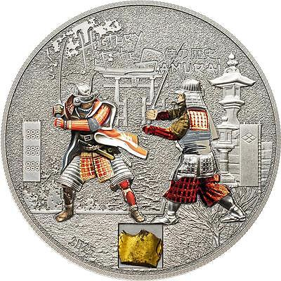 Cook Islands 2015 $5 History of the Samurai 1 Oz Silver Coin Authentic Inlay!