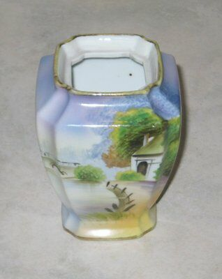 Lovely Antique Nippon Porcelain Hand Painted 4 Inch Vase w/Gold Accents