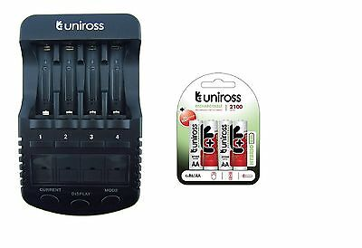 UNiROSS ULTIMATE INTELLIGENT SMART Charger AA AAA+ 4 x AA Hybrio 2100 Bats
